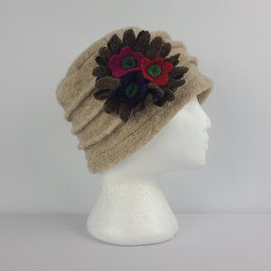 Lafenice Florence Italy Wool Cream Flower Hat